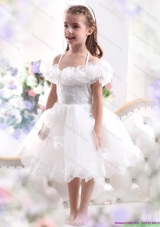 White Halter Top Little Girl Pageant Dresses with Hand Made Flower