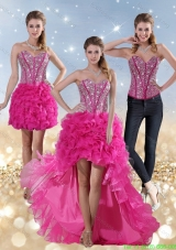 2015 Detachable Hot Pink High Low Sweetheart Prom Dresses with Beading and Ruffled Layers