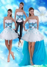 2015 Detachable Strapless White and Blue Prom Dress with Appliques and Beading