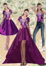 Detachable High Low Embroidery Dark Purple Prom Dresses for 2015