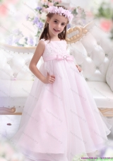 Scoop Appliques and Bowknot Pretty Girls Party Dresses for Girl in Baby Pink