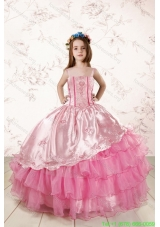 Unique Appliques and Ruffled Layers Little Girl Pageant Dresses in Baby Pink
