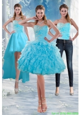 2015 Detachable Sweetheart Baby Blue Prom Gown with Appliques and Ruffles