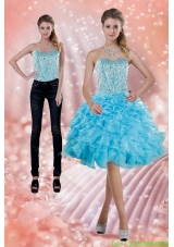 2015 Detachable Baby Blue Prom Dress with Beading and Ruffles