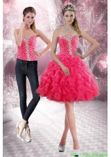 2015 Detachable Sweetheart Prom Dress with Beading and Ruffles