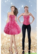 Detachable 2015 Strapless Coral Red Prom Dress with Beading and Ruffles