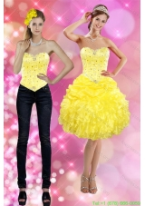 Detachable 2015 Sweetheart Yellow Prom Dress with Beading and Ruffles