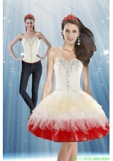 Detachable 2015 White and Red Prom Dress with Beading and Ruffled Layers