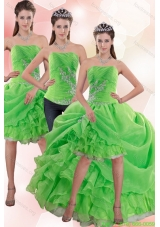 Detachable Strapless Spring Green Prom Dress with Appliques and Ruffles