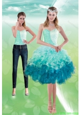 Detachable Sweetheart Multi Color 2015 Prom Dress with Beading and Ruffles