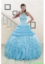 2015 Cheap Baby Blue Quinceanera Dresses with Beading