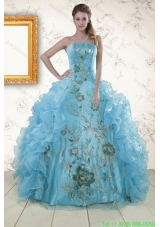 Cheap Embroidery 2015 Quinceanera Dresses in Baby Blue