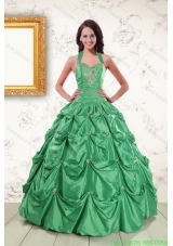 Cheap Halter Top Quinceanera Dresses with Appliques