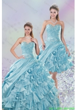 2015 Beautiful Sweetheart Ball Gown Quinceanera Dresses with Beading and Ruffled Layers