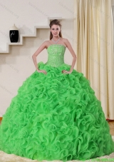 Beautiful Strapless Spring Green Quinceanera Dresses with Beading and Ruffles