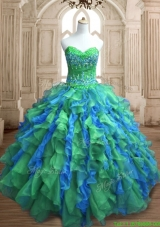 Most Popular Applique and Ruffled Quinceanera Dress in Green and Blue