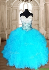 Romantic Aqua Blue Quinceanera Dress with Beading and Ruffles