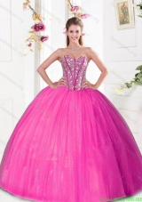 Discount Beading and Pick Ups 2015 Quinceanera Dresses in Hot Pink