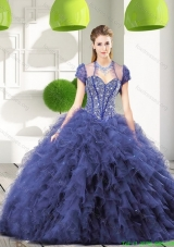 Discount Navy Blue Quinceanera Gown with Beading and Ruffles for 2015