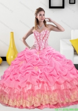 Discount Sweetheart 2015 Quinceanera Gown with Pick Ups and Beading