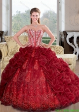 Discount Sweetheart Beading and Pick Ups 2015 Quinceanera Dresses in Wine Red