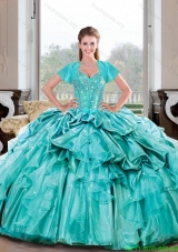 Discount Sweetheart Beading and Ruffles Turquoise Quinceanera Dresses for 2015 Spring