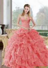 2015 Discount Beading and Ruffles Quinceanera Dresses in Watermelon