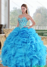 2015 Discount Sweetheart Baby Blue Quinceanera Dresses with Beading and Ruffles