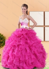 Discount Hot Pink 2015 Quinceanera Dresses with Beading and Ruffles