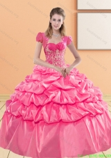 Discount Sweetheart 2015 Quinceanera Gown with Appliques and Pick Ups