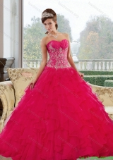 Discount Sweetheart 2015 Red Quinceanera Gown with Appliques and Ruffles