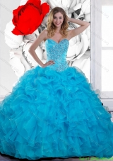 2015 Discount Beading and Ruffles Sweetheart Quinceanera Gown in Teal