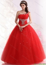 2015 Discount Red One Shoulder Quinceanera Dresse with Rhinestones