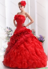2015 Discount Strapless Quinceanera Dresses with Hand Made Flowers