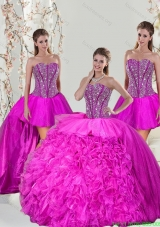 2015 New Style and Detachable Hot Pink Sweet 16 Dresses with Beading and Ruffles