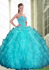 2015 New Style Beading and Ruffles Sweetheart Quinceanera Dresses in Aqua Blue