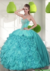 Discount Beading and Ruffles Strapless Aqua Blue Quinceanera Dresses for 2015