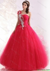 Discount One Shoulder 2015 Quinceanera Dresses with Beading