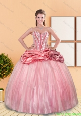 New Style 2015 Beading and Pick Ups Sweetheart Quinceanera Dresses in Rose Pink