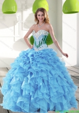 New Style 2015 Sweetheart Aqua Blue Quinceanera Dresses with Beading and Ruffles