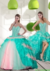 New Style Beading and Ruffled Layers Quinceanera Gowns in Multi Color for 2015