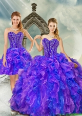 New Style Beading and Ruffles Quince Dresses in Purple and Blue for 2015