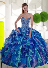 New Style Beading and Ruffles Sweetheart 2015 Sweet 15 Dresses in Multi Color