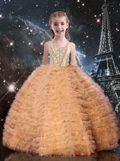 High End Sleeveless Tulle Floor Length Lace Up Party Dresses in Orange Red with Beading and Ruffled Layers