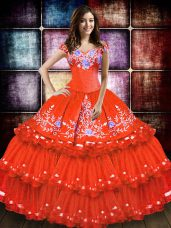 Orange Red Lace Up Off The Shoulder Embroidery and Ruffled Layers Quinceanera Gown Taffeta Sleeveless