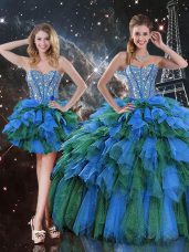 Eye-catching Multi-color Ball Gowns Organza Sweetheart Sleeveless Beading and Ruffles and Ruffled Layers Floor Length Lace Up Quinceanera Gowns
