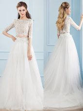Enchanting Scoop Half Sleeves Wedding Dresses Court Train Lace White Tulle