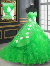 Fantastic Green Quinceanera Dresses Sweetheart Sleeveless Brush Train Lace Up