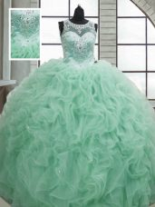 Apple Green Sleeveless Floor Length Beading and Ruffles Lace Up Quinceanera Gown