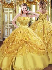 Beading and Appliques and Hand Made Flower Quinceanera Gowns Gold Lace Up Sleeveless Floor Length